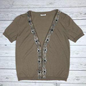 Miu Miu Embellished Wool Cardigan Short Sleeve